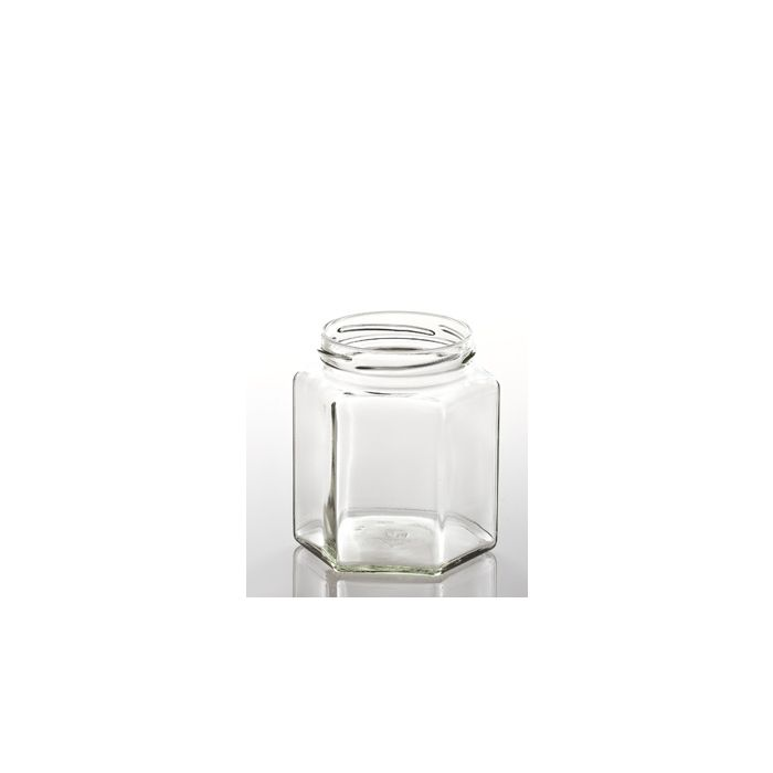 Jar Glass Hexagonal 1kg + 82mm Gold Lid (Min 10 Ship)