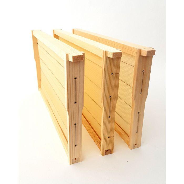 Apimaye 10F F/Depth Brood/Super, 20 Assembled 6-Wire Wood Frames with Wax Foundation
